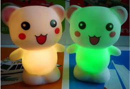 Wholesale Candles Small Night Lamp - 7 colours happy bear small night lights Lamp Colorful LED candle romantic gift baby