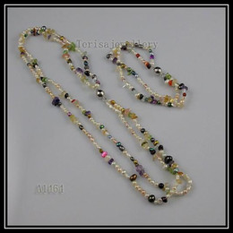 special design mixes color pearl crystal peridot necklace bracelet woman's fashion jewelry set A1464