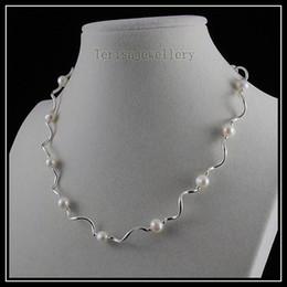 hermoso collar AA 6-7 MM color blanco perlas de agua dulce tubo de plata joyería de moda de la mujer A1463
