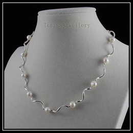 Wholesale Aa Jewelry - beautiful necklace AA 6-7MM white color fresh water pearl Silver tube woman's fashion jewelry A1463