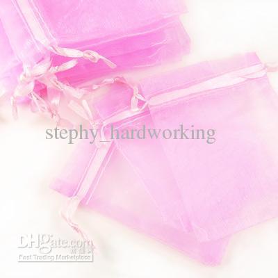 Оптовая продажа 1000 шт. / лот органза ювелирные изделия свадьба подарок пользу сумки держатели 7 * 9 см душ мешок свадебные принадлежности сплошной цвет