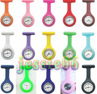 Wholesale Silicon Kids Watch - Nurse Brooch Clip Pocket Watches Children Watch Kid Watches Silicon Fob Watch 15pcs lot 7L