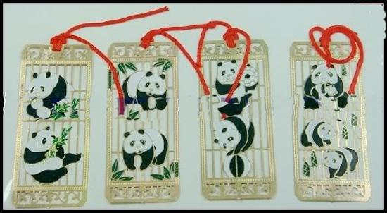 Cloisonne Panda Present Bokmärken kinesisk stil hantverk handgjord metall koppar mode bokmärke / pack