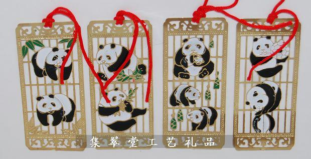 Cloisonne Panda Gift Bookmarks Chinese style Crafts Handmade Metal Copper Fashion Bookmark /pack