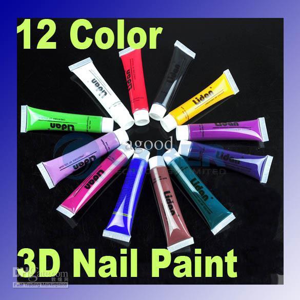 Nail Art Gel Paint Multi Surface 3d Painting Brush Pen Uv Gel ...