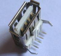 ingrosso pin di saldatura-100 pezzi USB 2.0 Tipo A Saldatura ad angolo retto Femmina 4 pin Saldatura per scheda madre Presa da pannello Parti / accessori per computer