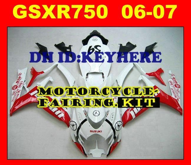 스즈키 용 페어링 GSXR 600 750 GSX R600 R750 2006 2007 06-07 고품질 ABS 수지