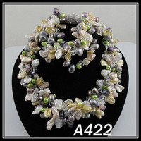 Wholesale Crystal Fresh Water - special design AA mixes color fresh water pearl crystal necklace bracelet woman's jewelry set A422
