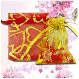 Wholesale orange wedding favor bags - Wholesale 500pcs   lot Organza Jewelry Wedding Party Gift Bags 7*9cm Shower Party Gift Pouch Fashion Gilding mix colors