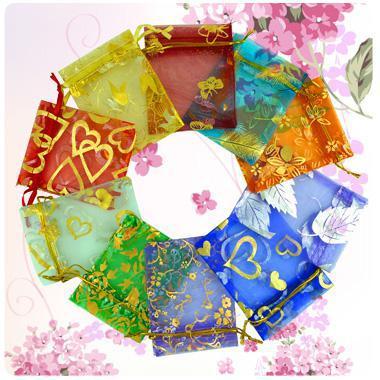 Hurtownie 500 sztuk / partia Organza Biżuteria Wedding Party Torby 7 * 9 cm Prysznic Party Prezent Etui Moda Gilding Mix Colors