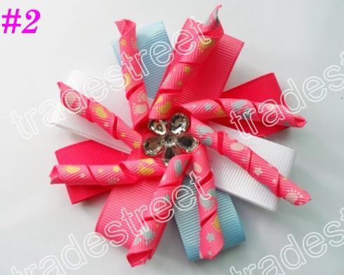 New kids bows 35ps diamond flower korker hair bows layered korker hair bows korker hair clips