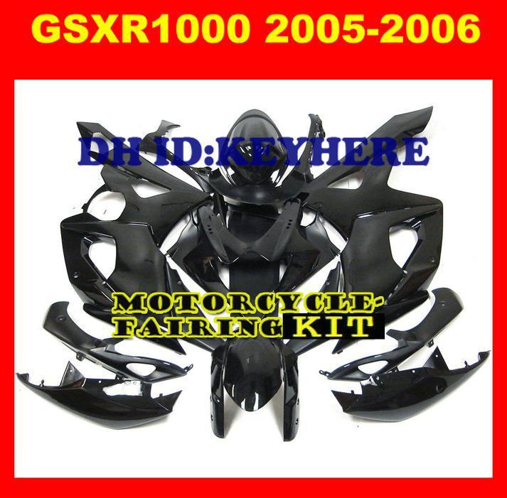 ABS Bodywork Fairing Kit för SUZUKI GSXR1000 GSX-R1000 2005-2006 05 06 Gixxer All Ljus svart med vindruta