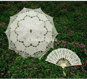 Promotion! 4 ensembles / lot, dentelle Parasol Parapluie mariage nuptiale Fan Party, noir / blanc / ivoire