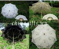 Wholesale Wholesale Ivory Lace Fans - Promotion! 4sets lot, Lace Parasol Umbrella Wedding Bridal & Fan Party, Black White Ivory