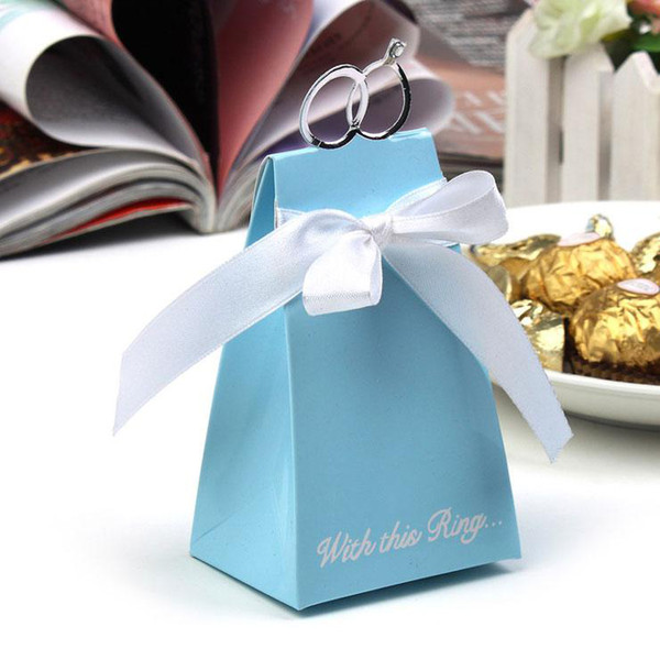 50 pcs Wedding Faovrs Blue & White Ring Candy Box gift boxes New