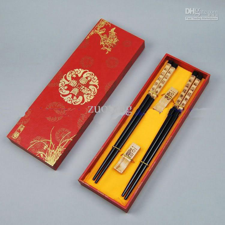 High Quality Chopsticks Gifts Wooden Engraved Phoenix with Gift Box 2 Sets /pack (1set=2pair) Free