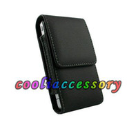 Wholesale Cell Holster Belt - Flip Leather Clip Belt pouch case For Iphone 4 4S 4g 4th SE 5 5S Hard Black Leechee Hip coat Holster Cell phone Skin Cover Luxury 2pcs lot