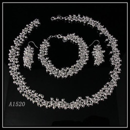 Wholesale Indian Beautiful White Necklace - beautiful AA Silver ball necklace bracelet earring jewelry set woman's jewelry free shipping A1520