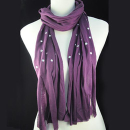 Wholesale Scarves Studs - Scarf Jewelry - Long Tassel Purple Stud Rivet Polyester Pashmina Shawl Scarf for women head muffer | NL-1482B