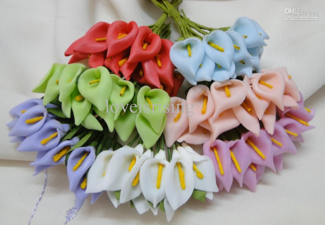 Envío gratis: nueva llegada, blanca, hermosa, hecha a mano, mini cala, flor de lirio para invitación de boda ca