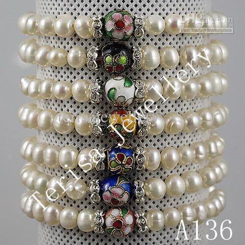 특별한 디자인 8MM 칠보 6-7M 담수 진주 탄성 팔찌 유행 여자의 보석 A136