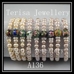 monili speciali della A136 della donna di modo del braccialetto 8MM della perla fresca di cloisonne di disegno speciale 8MM di cloisonne cheap elastic bracelet designs da disegni elastici del braccialetto fornitori