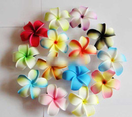 Wholesale Foam Plant - Frangipani flower hawaiian Plumeria Flower Foam Hairbands hair clip 168pcs