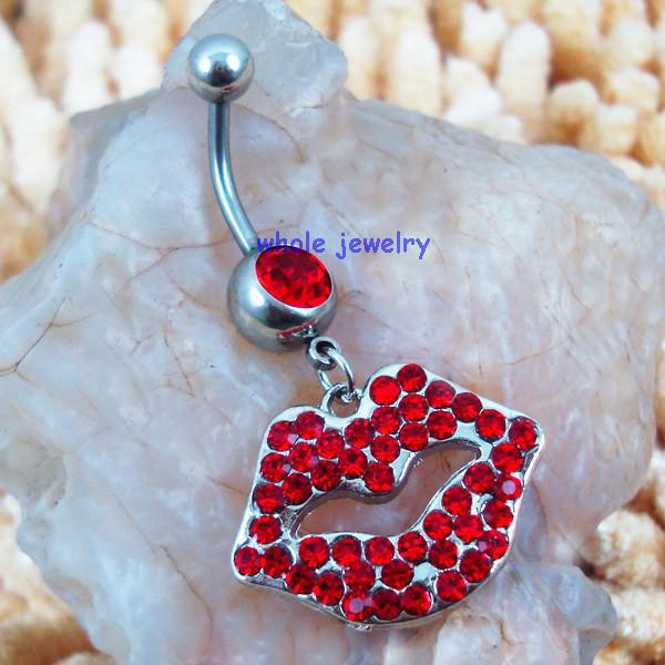 D0047   lip style piercing body jewelry , red color Belly Button Ring , Fixing BELLY BAR JFC-1216