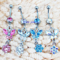 Wholesale Lucite Bar - D0116 bowknot style Belly Button JFC-1148 body Rings stainless steel Fixing BELLY BAR(10PCS LOT) jewelry