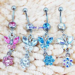 Wholesale Ring Bowknot - D0116 bowknot style Belly Button JFC-1148 body Rings stainless steel Fixing BELLY BAR(10PCS LOT) jewelry