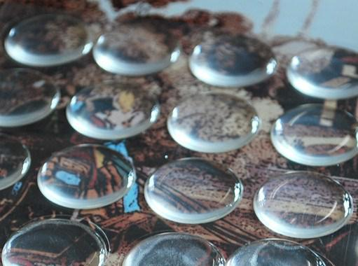 """1"""" 25.4mm CLEAR EPOXY ADHESIVE CIRCLES BOTTLE CAP STICKERS"""
