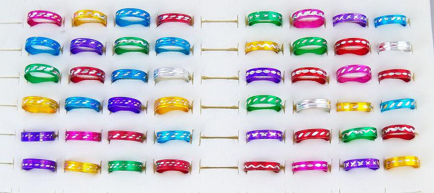 6style Aluminum Rings Mixed Fashion Jewelry Ring