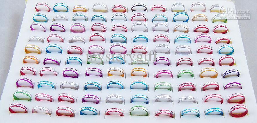 4mm multicolor aluminium ringen gemengde mode-sieraden ring