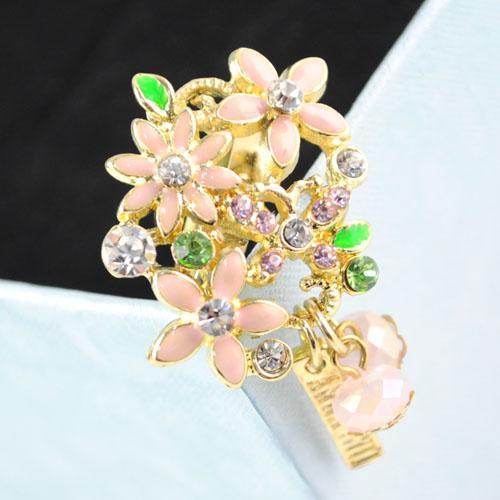 Кольца ювелирные изделия Оптовая цветок дизайн кольца микс кулон горный хрусталь стрейч кластера кольцо RN-537