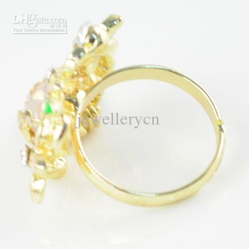 반지 보석 도매 꽃 - 디자인 반지 라인 석 스트레치 클러스터 링 RN - 537 믹스 펜던트