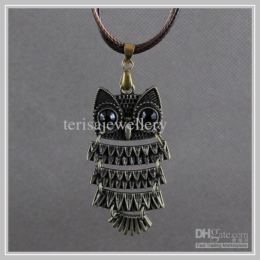 joyas envío libre A1535 hermosas piedras semi- preciosas collar del buho del color marrón de la mujer de la Navidad