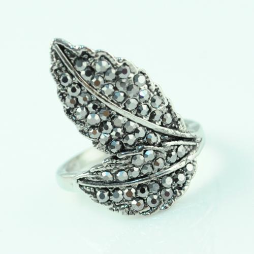 New Rings Design double leaf twist alloy rhinestone college ring wedding rings vintage ring RN-498
