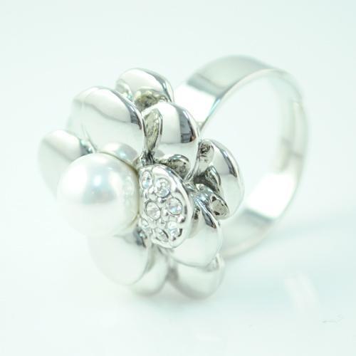 Pearl Rose Flower Obrączka dla Kobiet Biżuteria - Pearl Wisiorek Rhinestone Urocze obrączki Pierścienie Biżuteria Nowe Pierścienie   Rn-496.