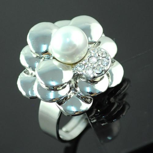 Pearl Rose Flower Trouwring voor Vrouwen Sieraden - Pearl Hanger Rhinestone Charmante Trouwringen Sieraden Ringen Nieuwe Ringen | RN-496