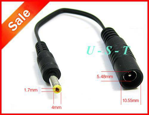 CCTV DC Power Adapter Cable 5.5mm x 2.1mm Female Jack Socket to 4.0mm x 1.7mm Male Conversion Plug 200pcs/Lot Express free Shipping