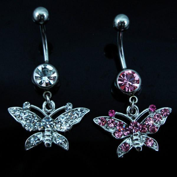 Hayvan stilleri 10Pcs / Lot Charm CZ Taş göbek göbek Dangle kelebek Piercing Takı