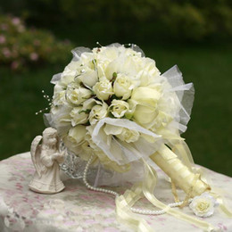 Wholesale Wedding Foam Flower - 2016 New Arrival Big White Beige Champagne Flower Bride Bouquet Wedding Bouquets  Artifical Flowers Wedding favors