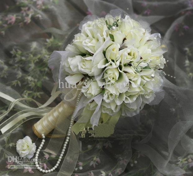2016 새로운 도착 큰 흰색 베이지 샴페인 꽃 신부 부케 / 웨딩 부케 / 인공 꽃 / 웨딩 호의