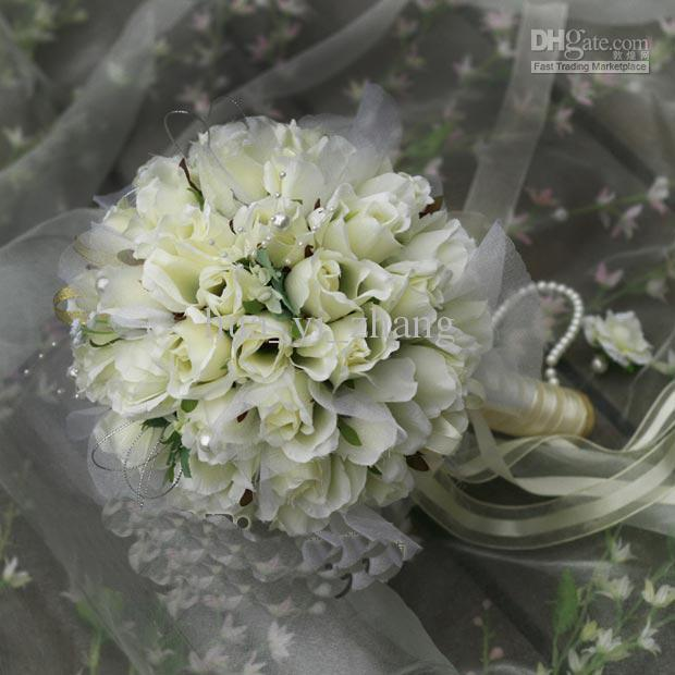 2016 neue Ankunft große weiße beige Champagner Blume Brautstrauß / Hochzeitssträuße / künstliche Blumen / Hochzeitsbevorzugungen