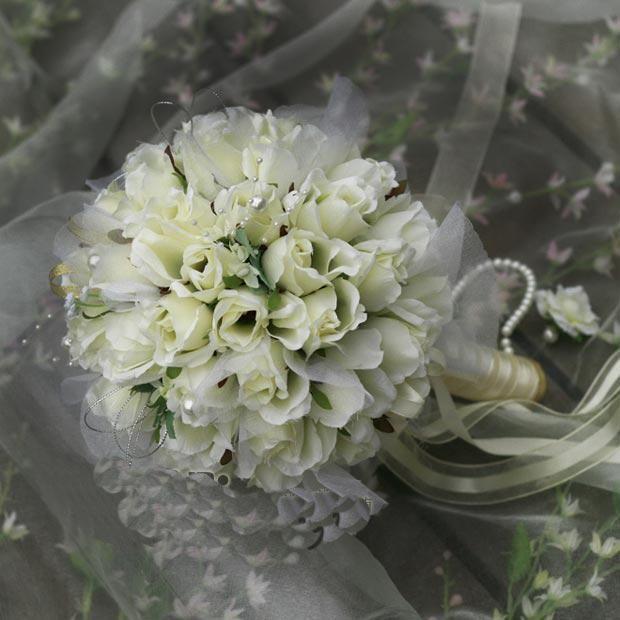 2016 Nuovo arrivo Big White Beige Champagne Flower Bouquet da sposa / Bouquet da sposa / Fiori artificiali / Bomboniere