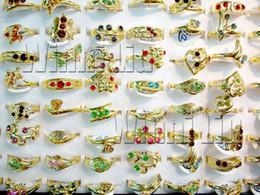Wholesale Wholesale Free Shipping Australia - Fashion Jewelry Rings Jewellery Mix Lots 50PCS Gold P Australia Rhinestone women Rosa Ring Free Shipping[CZ56*50]