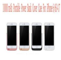 funda negra de oro rosa iphone al por mayor-Portátil Ultra Delgado 10000mAh Banco de la energía Cubierta del caso Cargador de batería Oro Negro Blanco Rosa de oro Para Apple iPhone 6 / 6S Plus