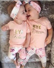 Wholesale Wholesale Leggings Suit - 2016 INS baby girl pink letters printed T shirt +floral leggings +headband 3 pcs suits Summer Princess Sets