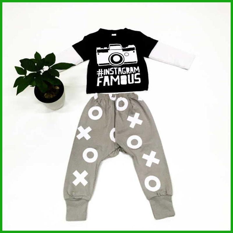 2Pcs Baby Set Letter Print T-Shirt Geometric Pattern Pants Boys Clothing Suit