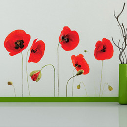 Wholesale Modern Wall Borders - Red Flowers Wall Art Mural Decor Sticker Removable Red Tulip Wall Applique Home Decor Art Poster Border Decal